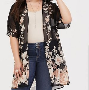 Torrid Black Floral Chiffon Kimono